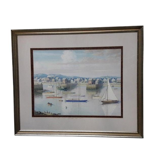 Vintage 1940 Coastal Quai Port Ship Harbor Oil on Paper Painting For Sale In Philadelphia - Image 6 of 6