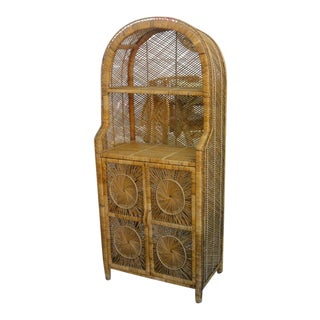 Island Chic Medallion Rattan Etagere For Sale