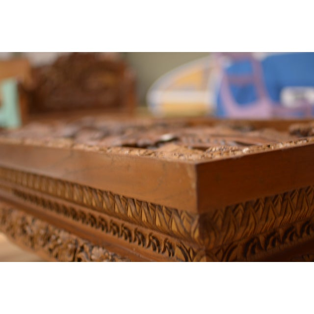 Asian Hand-Carved Teak Coffee Table For Sale - Image 9 of 9