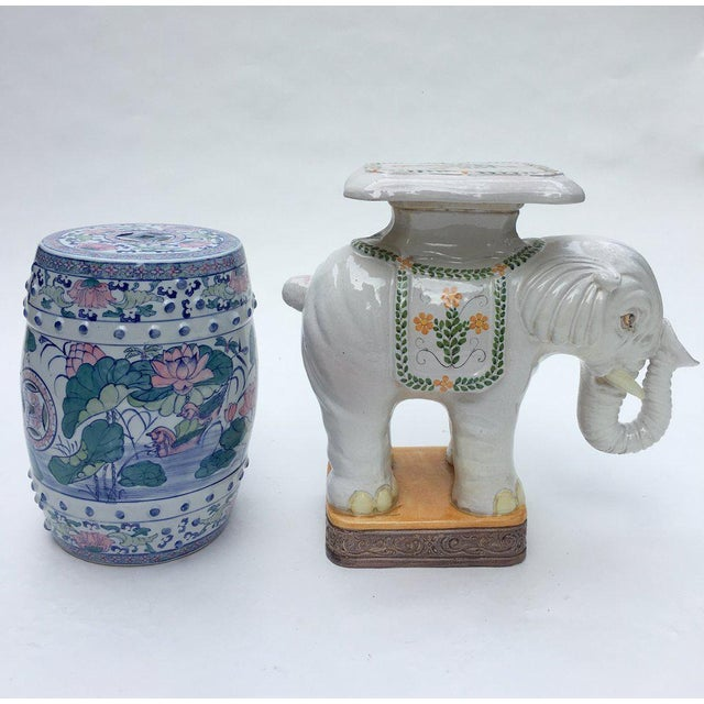 Large Italian Terra Cotta Elephant Garden Stool For Sale - Image 12 of 13