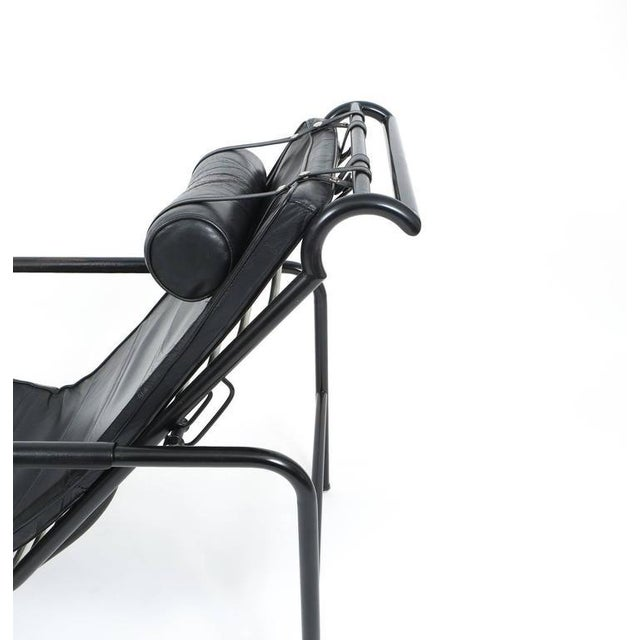 1930s Black Leather Genni Chaise by Gabriele Mucchi for Zanotta For Sale - Image 5 of 8
