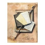 Image of 1970s Trompe l'Oeil Oil Painting of Symbols of the Arts For Sale