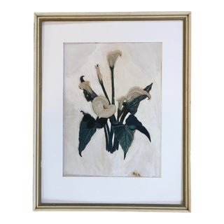 "1941 ""Calla Lillies"" Botanical Gouache Painting, Framed For Sale"