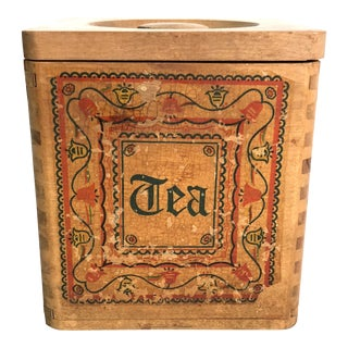 "Vintage Painted Wooden ""Tea"" Box For Sale"