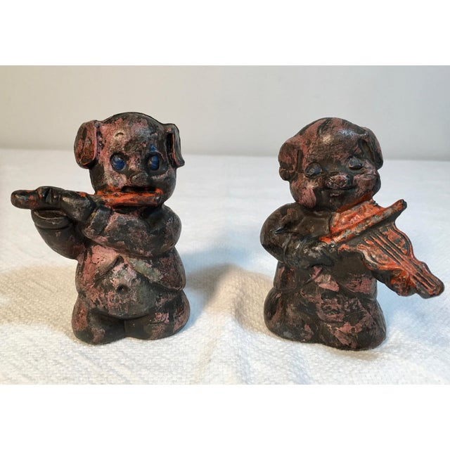 Antique Lead Pig Musician Toys - A Pair - Image 5 of 5