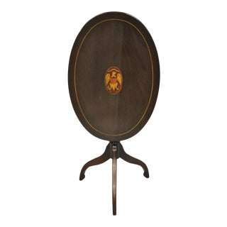 Antique Mahogany Federal Sheraton Eagle Shield Flag Inlaid Lamp Tilt Top Table For Sale