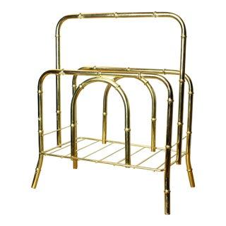 "1950s Hollywood Regency Style ""Gold"" Brass Faux Bois Bamboo Magazine Holder For Sale"