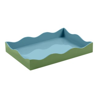 The Lacquer Company for Chairish Belle Rives Tray in Lettuce Green / Bluebird, Medium For Sale