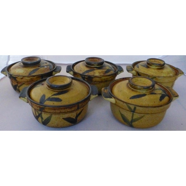 Chinoiserie Inspired Studio Pottery Covered Soup Bowls ~ Set of Five For Sale - Image 13 of 13