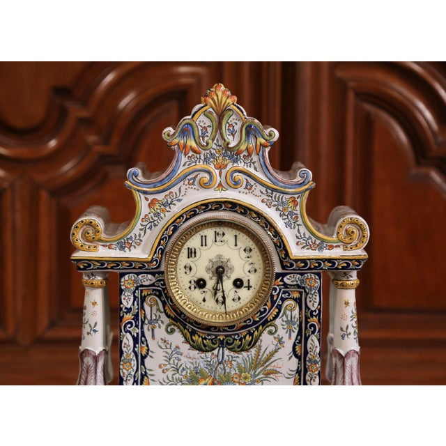 French 19th Century French Hand-Painted Ceramic Mantel Clock From Rouen For Sale - Image 3 of 11