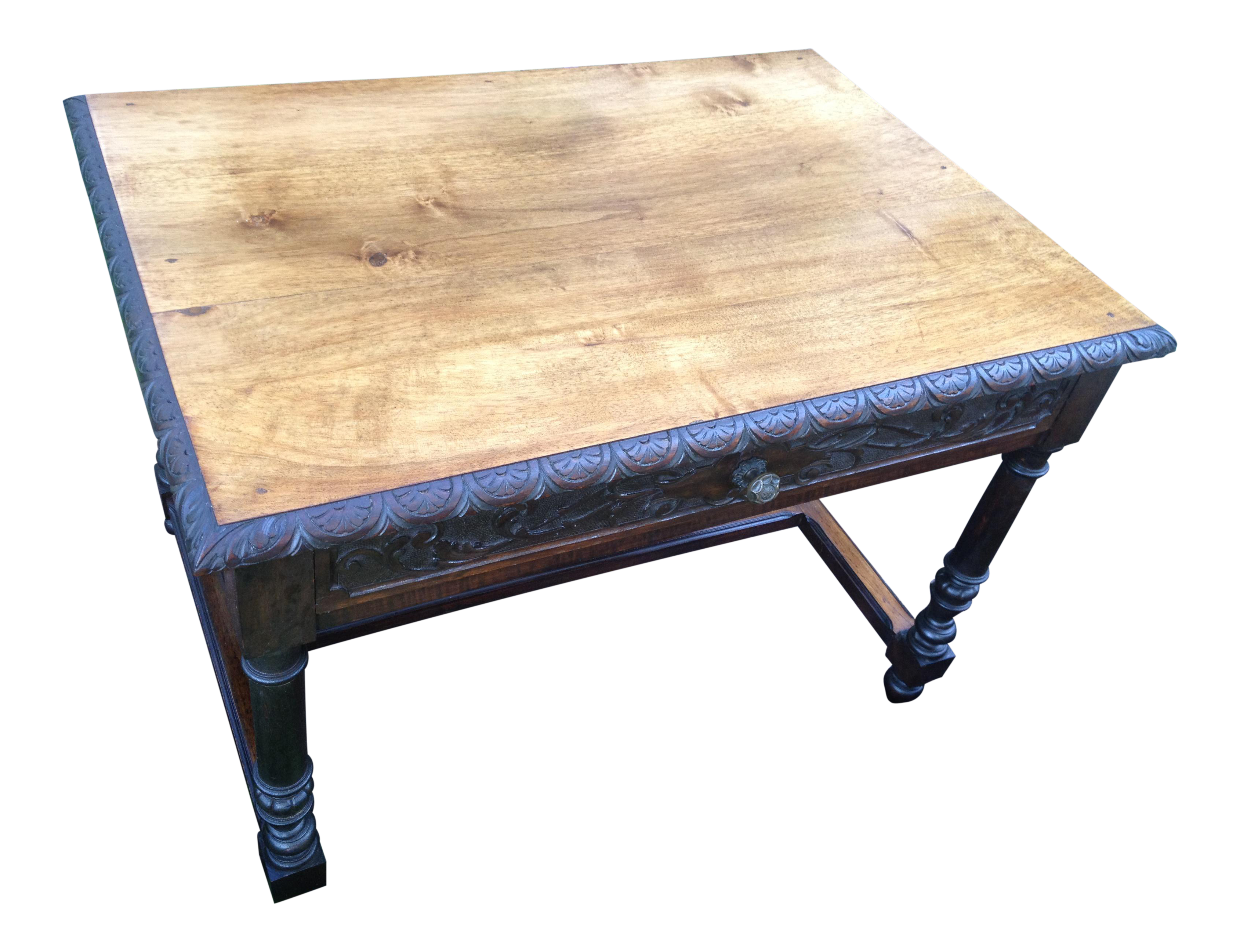 1870s Pecan Hickory Carved Gothic End Table For Sale