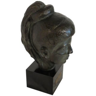 1980s Bronze Bust of Female For Sale