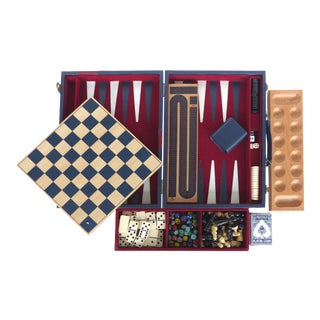 Vintage 6-Game Travel Set W/ Backgammon/Chess/Dominos/Cards For Sale