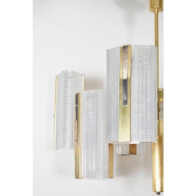 Mid-Century Modern Kalmar Modernist Brass and Glass Ten-Arm Austrian Chandelier For Sale - Image 3 of 12