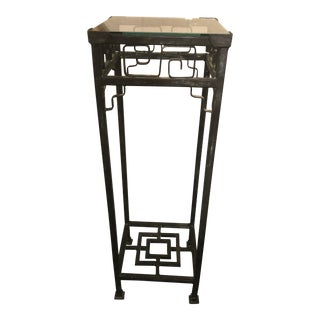 Mid-Century Modern Square Wrought Iron and Glass Pedestal or Stand For Sale
