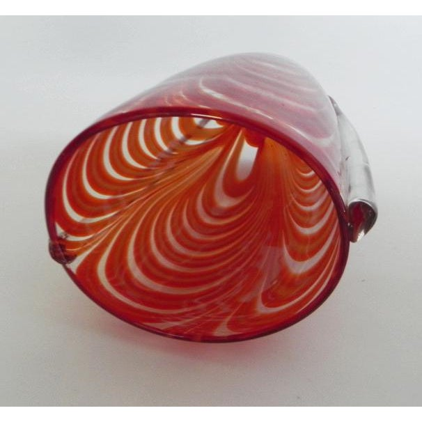 Contemporary Hand Blown Clear Glass Vase Infused With Red-Orange Ribbon Pattern For Sale - Image 3 of 10