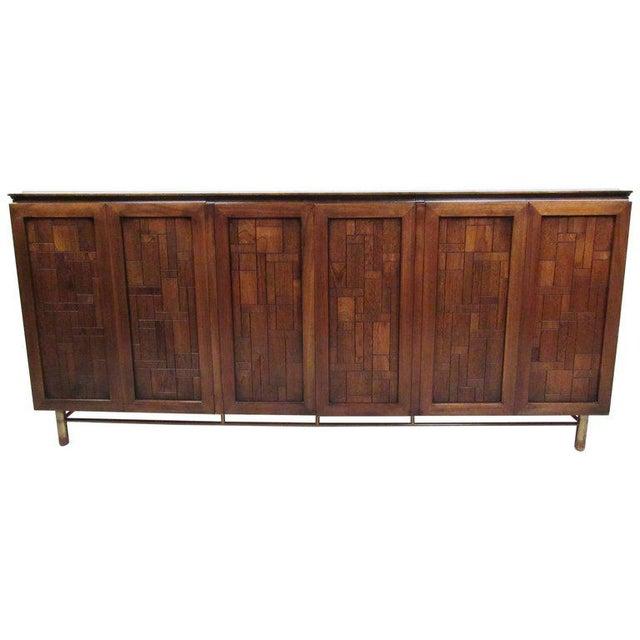 Brutalist Bert England for Johnson Bros Vintage Modern Travertine Top Sideboard For Sale - Image 3 of 11