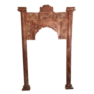 1920s Vintage Arch Wall Mirror Floor Mirror Jharokha Teak Accent Decor Window Frame For Sale