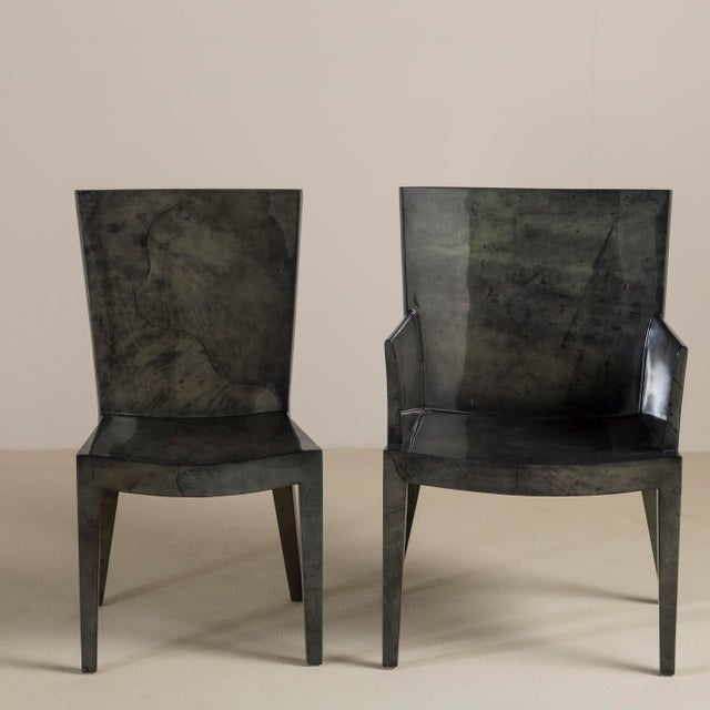 A Set of Eight Grey Lacquered Goatskin Chairs 1980s, Pair Carvers, Six Side Chairs For Sale - Image 6 of 9