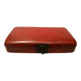 Antique Chinese Red Paper Mache Box For Sale