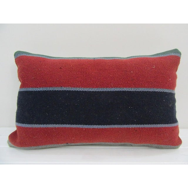 Vintage Handmade Red Striped Turkish Kilim Pillow Cover For Sale - Image 4 of 4