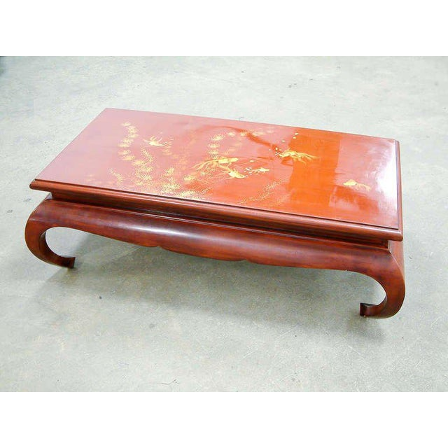1972 Viet Nam Thanhle Cinnabar Lacquered Wood Goldfish Coffee Table For Sale - Image 10 of 12