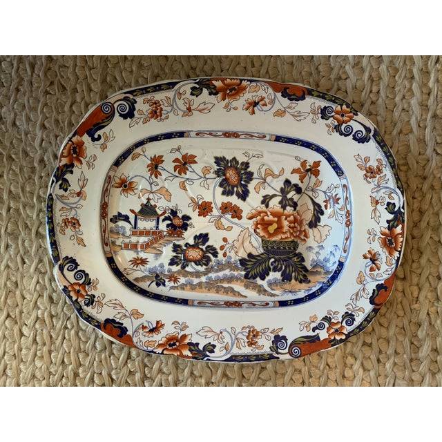 Mid-19th C. Minton Amherst Japan Stone China Imari Style Meat Platter For Sale - Image 9 of 11