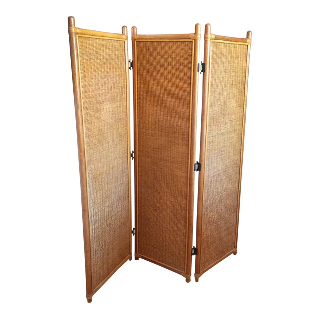 Vintage Rattan Bamboo 3 Panel Folding Screen Room Divider For Sale