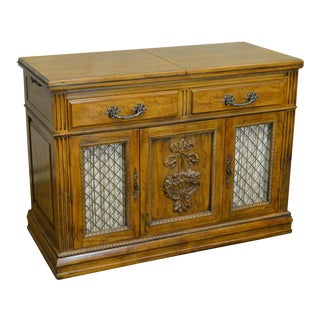 Davis Cabinet Co. Solid Walnut French Provincial Flip Top Server For Sale