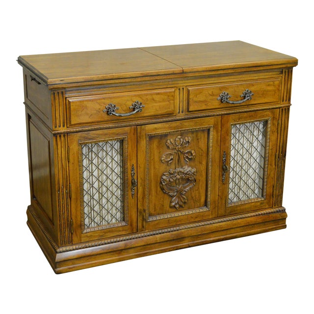 Davis Cabinet Co. Solid Walnut French Provincial Flip Top Server - Image 1 of 11