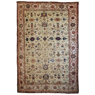 1900s Handmade Antique Persian Mahal Distressed Rug 8.10' X 11.6' For Sale