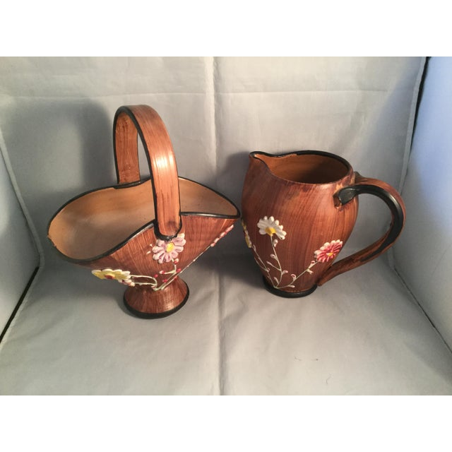 1990s 1990s Art Deco Ceramic Basket and Pitcher - 2 Pieces For Sale - Image 5 of 7
