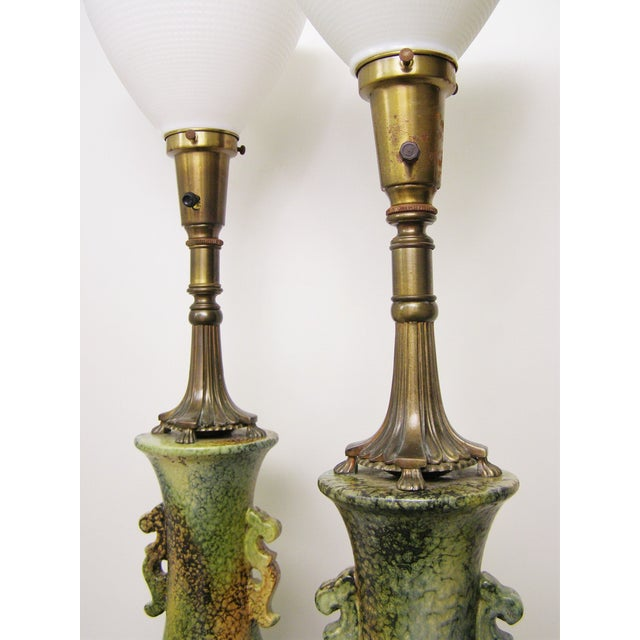 Pair Mid-Century Modern Asian Ceramic Pottery Lamps Green MCM James Mont Style For Sale - Image 5 of 11