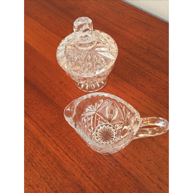 Vintage Cut Glass Cream & Sugar Set with Lid For Sale - Image 10 of 10