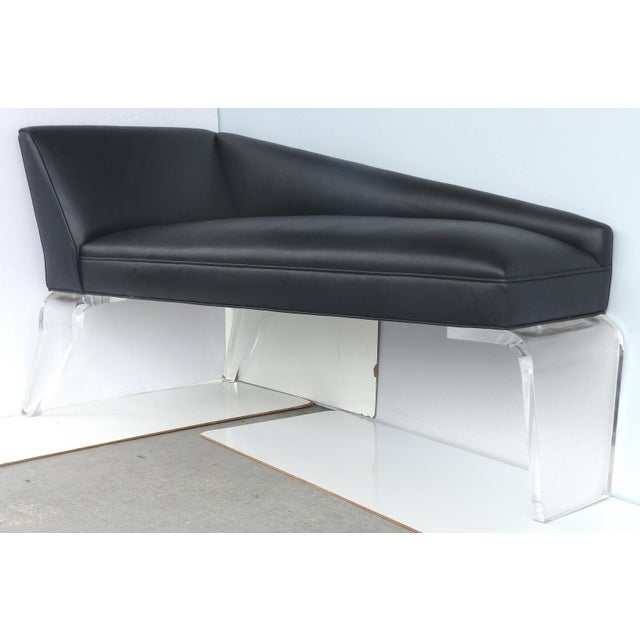 Sculptural Tapered Chaise With Leather Upholstery & Lucite Legs For Sale - Image 9 of 9