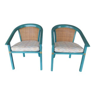 Vintage Hollywood Regency James Mont Style Barrel Back Club Chairs - a Pair For Sale