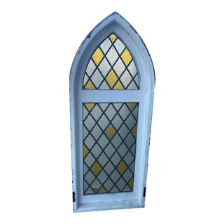 Arched Cathedral Spanish Tudor Style Leaded Glass Window For Sale