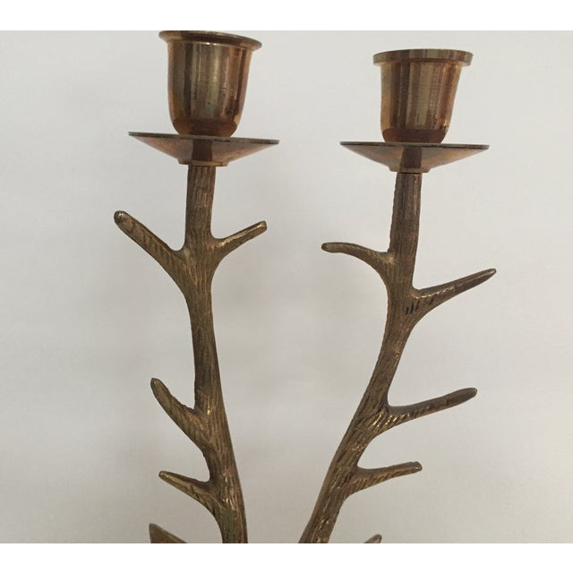 Brass Stag Antler Candle Holder For Sale - Image 4 of 4