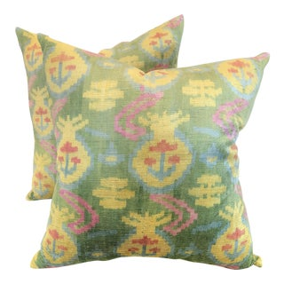 Green, Yellow, and Pink Geometric Velvet Pillows - a Pair