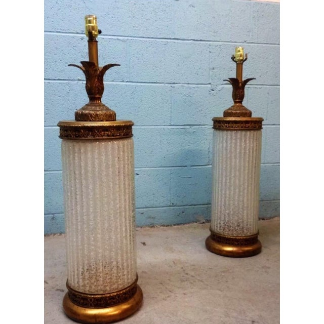 Murano Glass Gilt Table Lamps - A Pair - Image 2 of 6