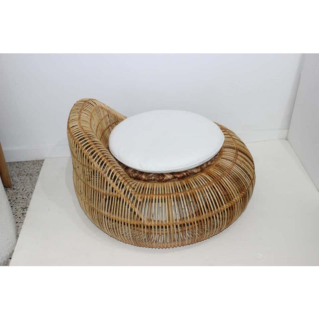 Mid-Century Modern Vintage Franco Albini Attributed Rattan Lounge Chair For Sale - Image 3 of 13