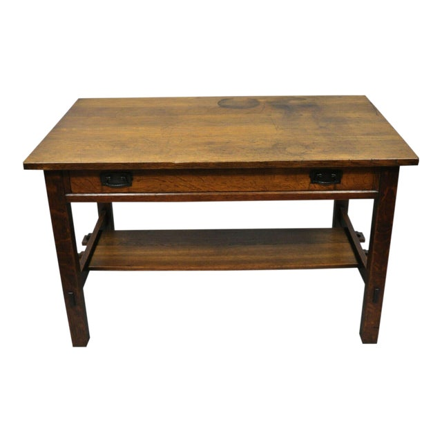1900s Arts and Crafts L & Jg Stickley Library Table/Writing Desk For Sale