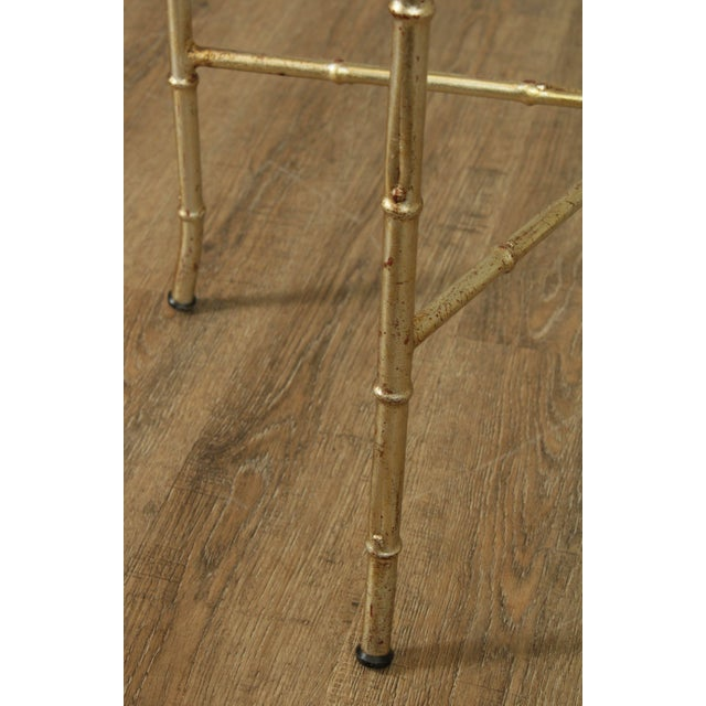 Hollywood Regency 1960's Silver Gilt Metal Faux Bamboo Glass Top Side Table For Sale - Image 10 of 11