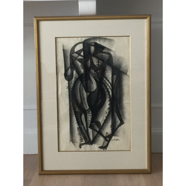 Framed Cubist Charcoal Painting - Image 5 of 8