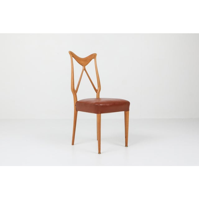 Wood 1970s Oak & Leather Dining Chairs in the Style of Ponti - Set of 6 For Sale - Image 7 of 12