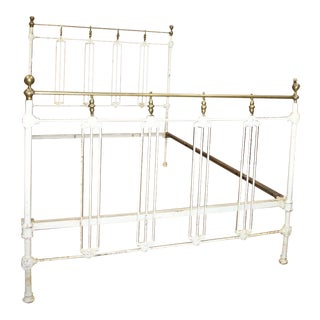Antique White Painted Iron & Brass Full Size Bedframe For Sale