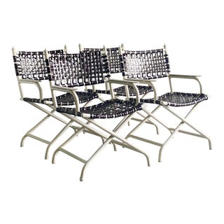 Vintage Set of Outdoor Woven Directors Chairs - Set of 4 For Sale