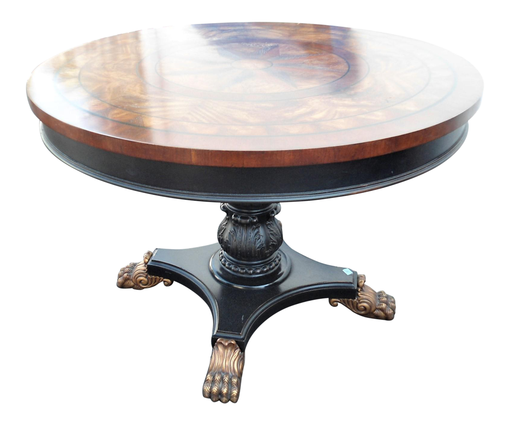 Star Inlay Round Pedestal Table With
