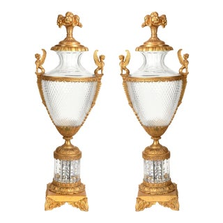 Mid-19th Century Large Bronze & Cut Glass Urns - A Pair For Sale