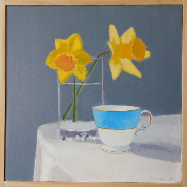 Two daffodils and a blue and white teacup. Finding the beauty in spring. This painting is 8 x 8 inches, acrylic on panel,...